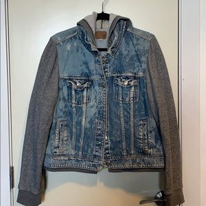 AE- Distressed mixed media denim jacket